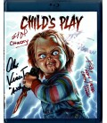 Childs Play BluRay signed by cast Alex Vincent, Catherine Hicks, Brad Dourif, and doll creator Kevin Yagher