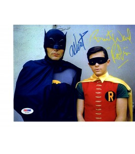 Signed by Adam West and Burt Ward color photo of Batman and Robin PSA/DNA