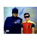 Signed by Adam West and Burt Ward 8 x 10 color photo of Batman and Robin PSA/DNA