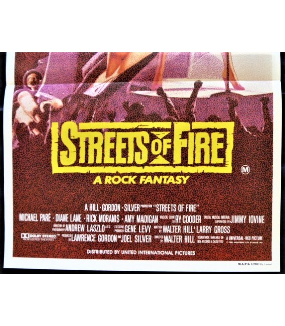 Streets Of Fire Original Vintage Theatrical Folded Australian Daybill Movie Poster