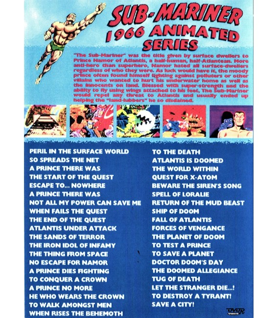 Sub-Mariner 1966 Complete animated cartoon series on 2 DVDs