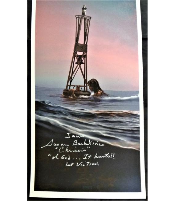 "JAWS The Buoy Art Giclee SIGNED By JC Richard & 1st Shark attack victim ""Chrissie"" Susan Blacklinie"