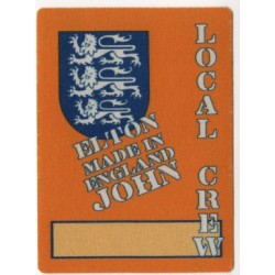 ELTON JOHN Made In England tour unused local crew backstage pass